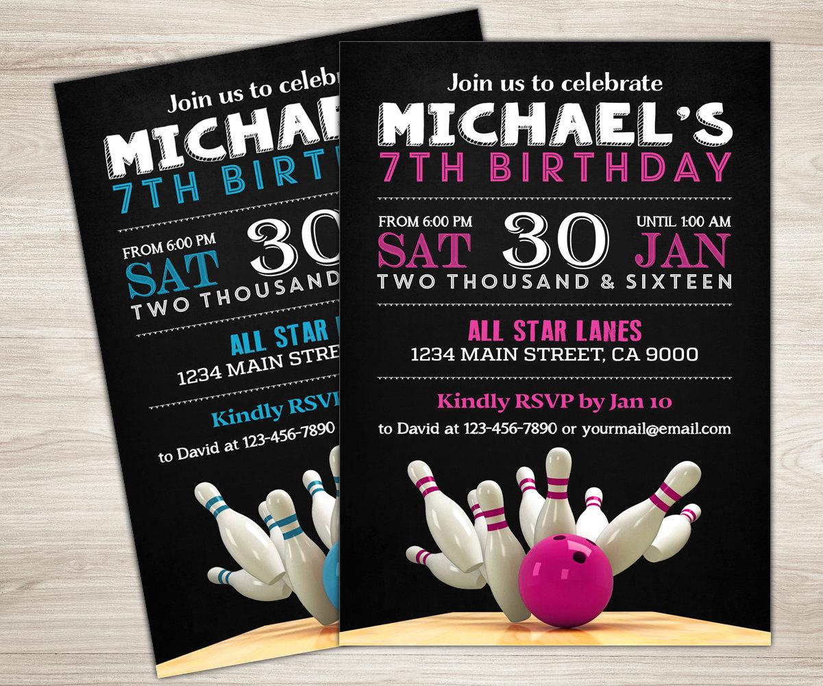 Bowling Invitation Printable Birthday
