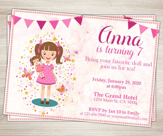 Baby Doll Party Invitation Girl 7th Birthday