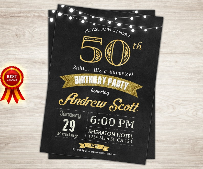 Surprise 50th Birthday Invitation For Men Rustic Cheers To 50