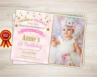 Twinkle Twinkle Little Star Invitation, Twinkle Twinkle Little Star First Birthday Invitation Pink and gold Little Star Birthday Invitation