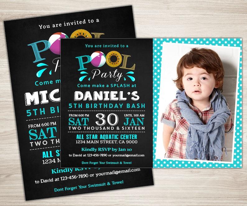 Pool Invitation Boy Birthday Party Invite