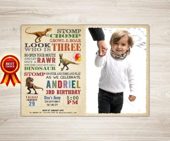 Boy Birthday Invitation Dinosaur 3rd