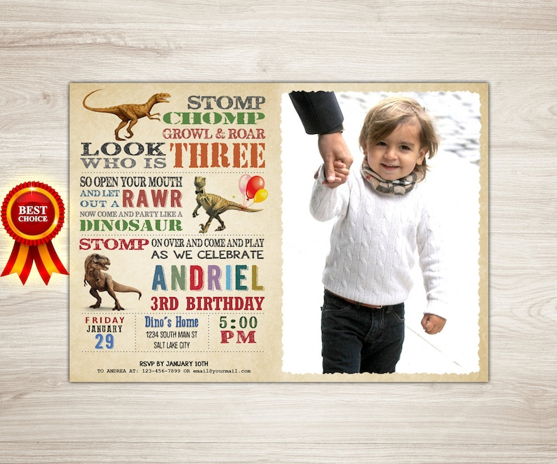 Boy Birthday Invitation Dinosaur 3rd