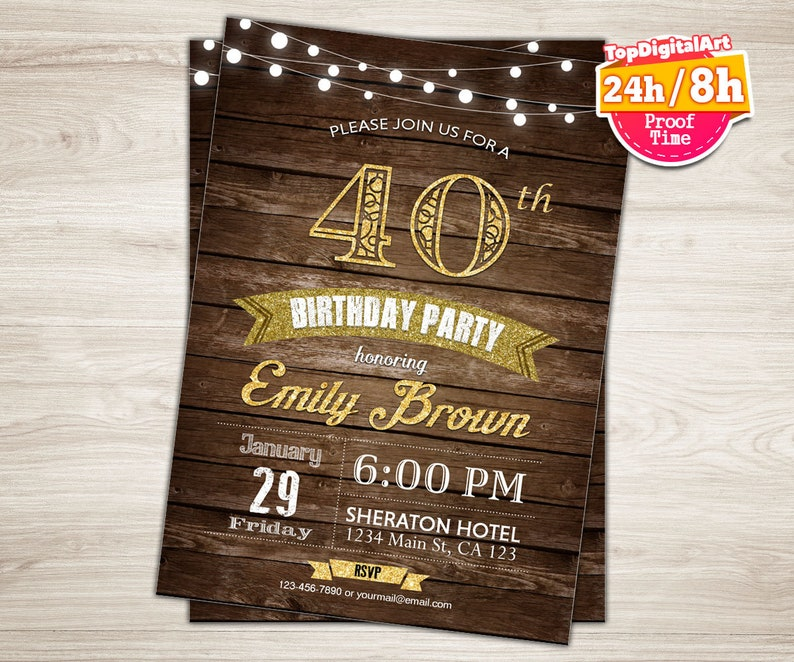 Surprise 40th Birthday Invitation For Women Rustic Wood