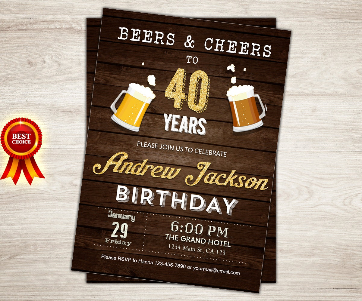 Beer Birthday Invitation 40th For Men