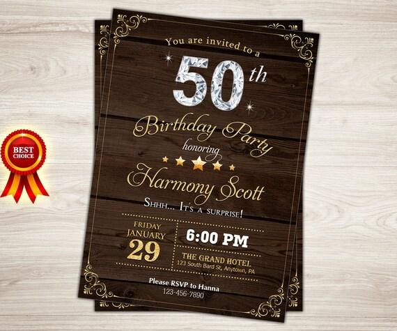 50th Birthday Invitation For Men Rustic Invite