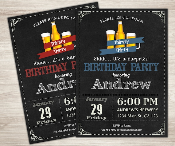 Beer Birthday Invitation Surprise 30th