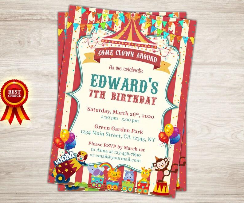 Vintage Circus Birthday Invitation 7th