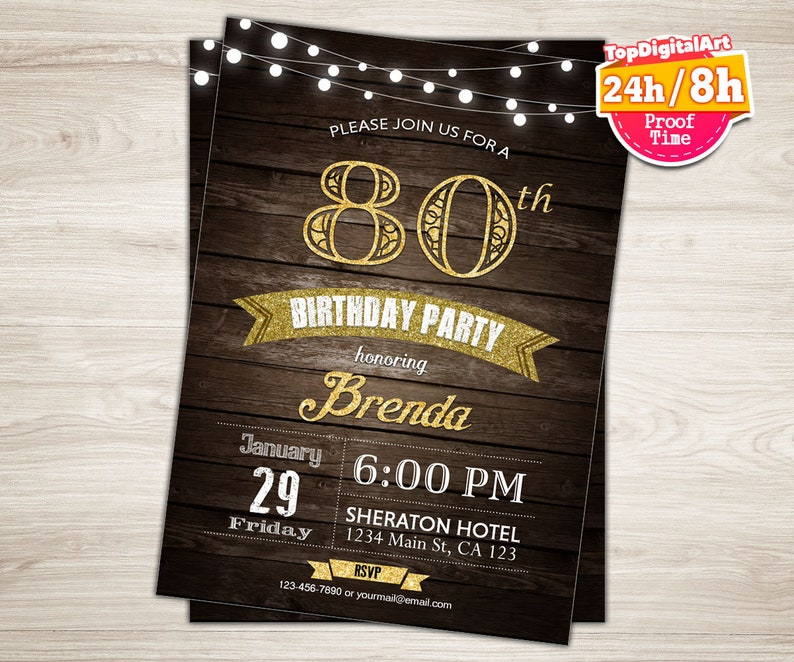 65th Birthday Invitation Man Surprise Party