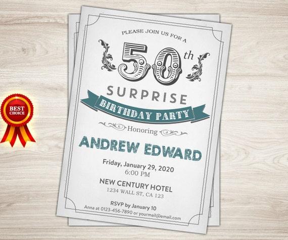 Surprise 50th Birthday Invitation Men