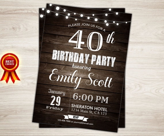 surprise 40th birthday invitation rustic wood 40th birthday etsy
