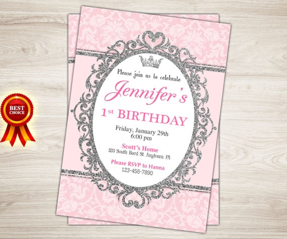 Princess first birthday invitation pink and silver princess etsy image 0 filmwisefo
