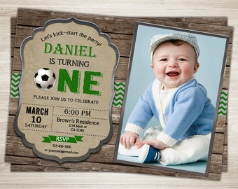 Soccer First Birthday Invitation. Soccer 1st Birthday Invite Printable Soccer Photo Invitation. Sports Party Soccer Party Invite Rustic Wood