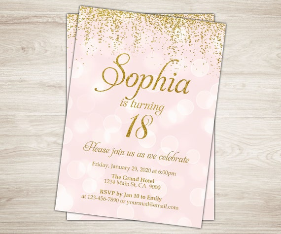 18th Birthday Invitation Girl Invite Pink Gold