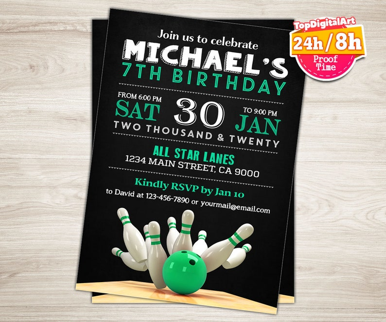 Bowling Invitation Party Birthday Mint