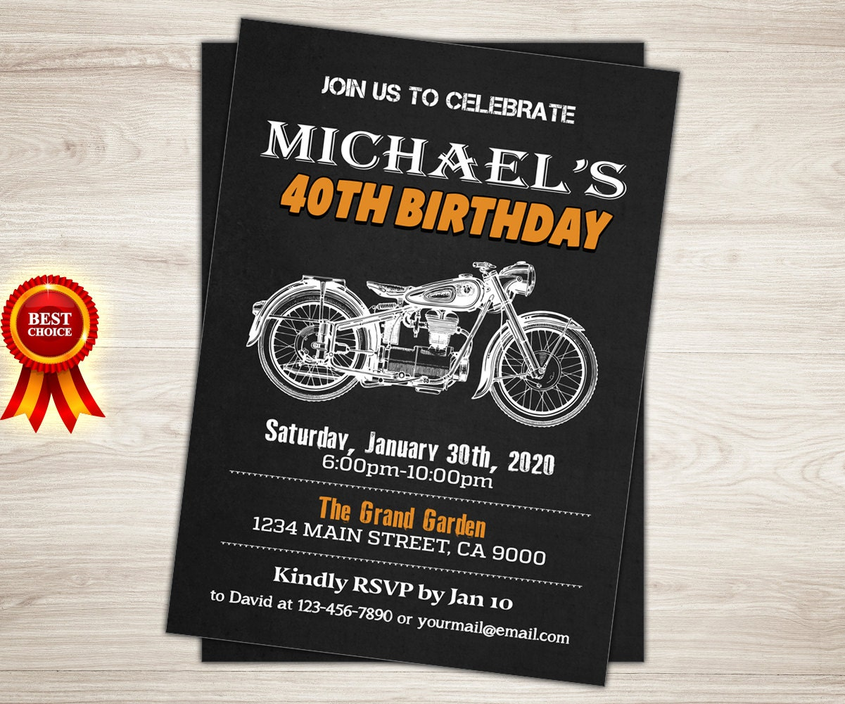 Harley Davidson Birthday Party Invitation 40th 50th 60th Etsy