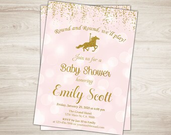 Carousel Baby Shower Invitation Pink and Gold Glitter Carousel Baby Shower Invite Carousel Invitation Carnival Baby Shower Invite Printable