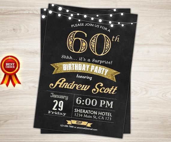 60th Birthday Invitation Black Gold Birthday Invitation Etsy