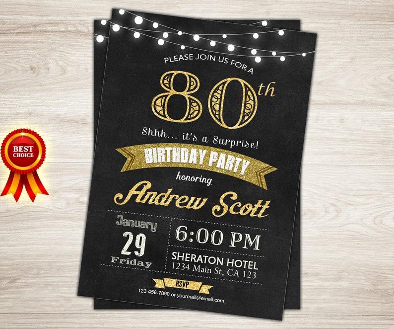 65th Birthday Invitation Man Surprise Party