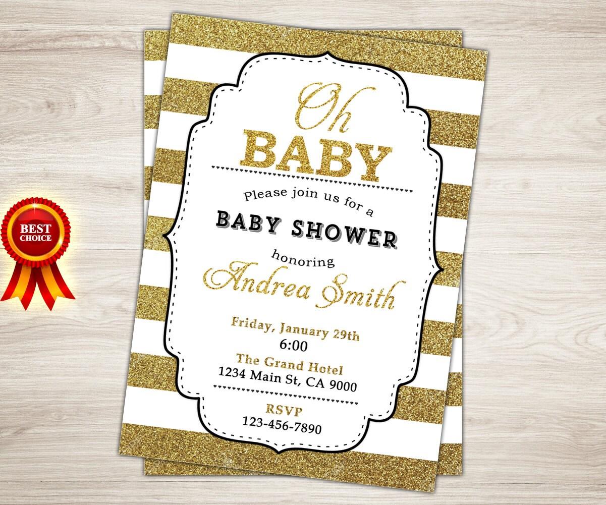 Gold Glitter Baby Shower Invitation. Gold Baby Shower | Etsy