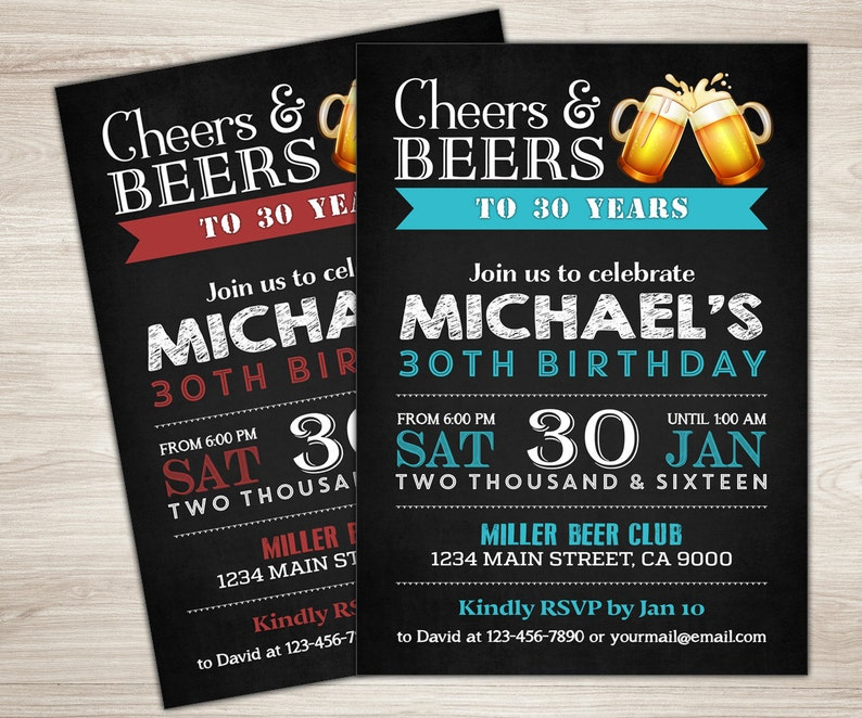 Surprise 30th Birthday Invitation For Men Cheers Beers