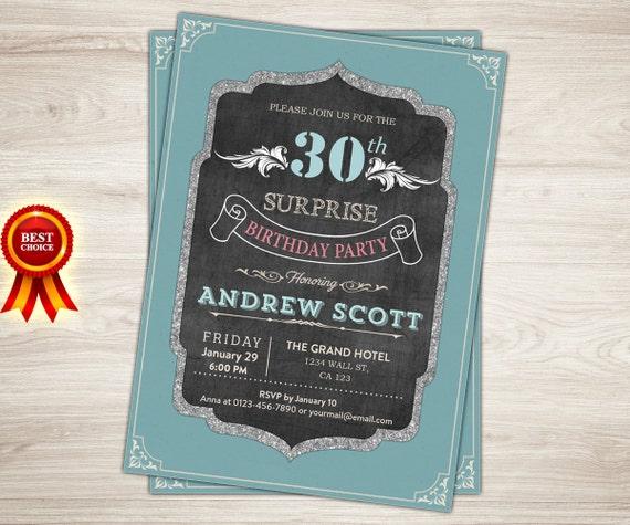 Niespodzianka 30 Urodziny Zaproszenie Retro Vintage 30 Cie Etsy