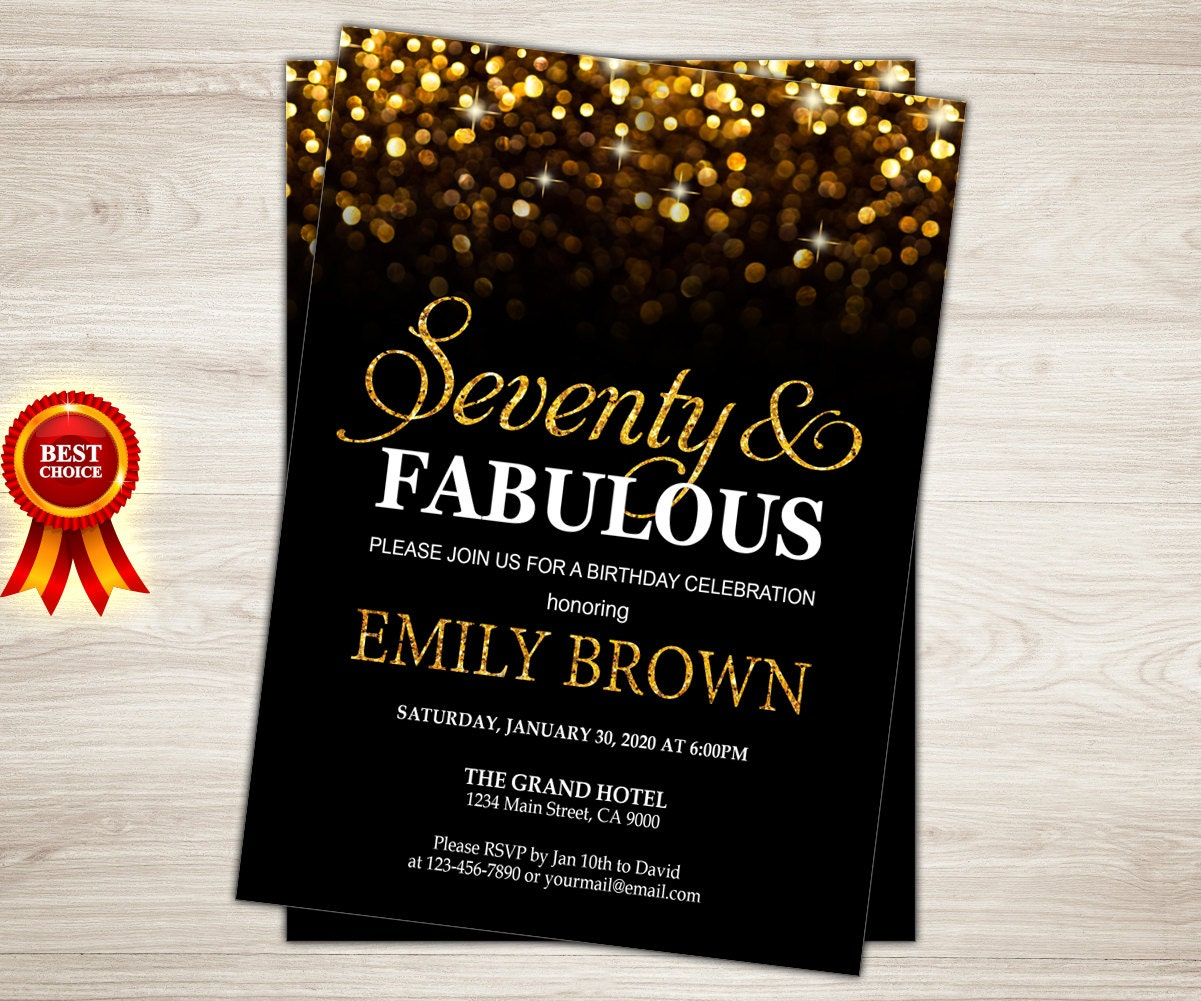 70th Birthday Invitation For Women 70 And Fabulous Golden