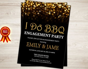 I do bbq engagement party. I do bbq party. Gold glitter I do bbq invitation. I do bbq engagement invitation. Printable Engagement Invite