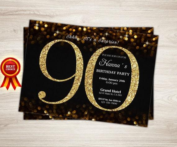 Pareti Glitterate Fai Da Te : Compleanno invito oro glitter compleanno festa invito etsy
