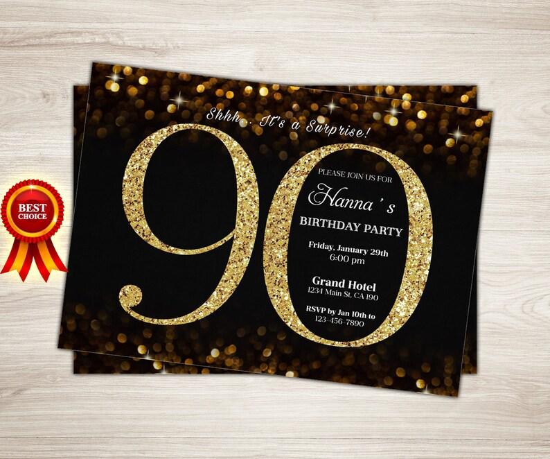 90th Birthday Invitation Gold Glitter Party Invite