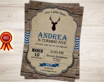 Rustic Deer Birthday Invitation, Deer Invitation, Little Deer Invitation Woodland Boy 5th Birthday Invitation, Woodland Invitation Printable