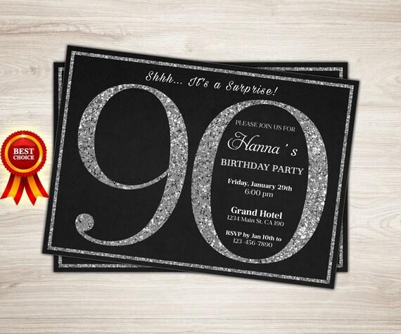 Surprise 90th Birthday Invitation Silver Glitter 90th Etsy