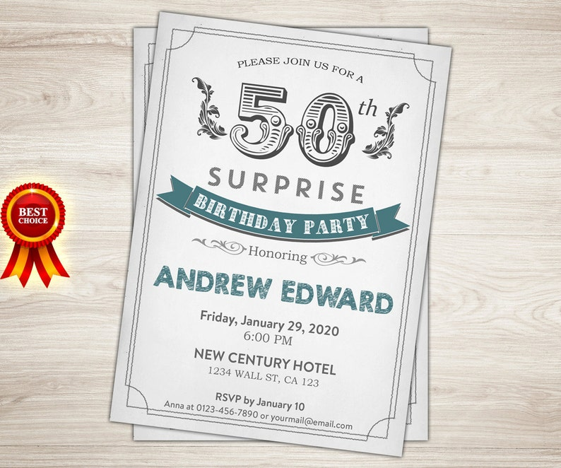 Surprise 50th Birthday Invitation For Men Teal