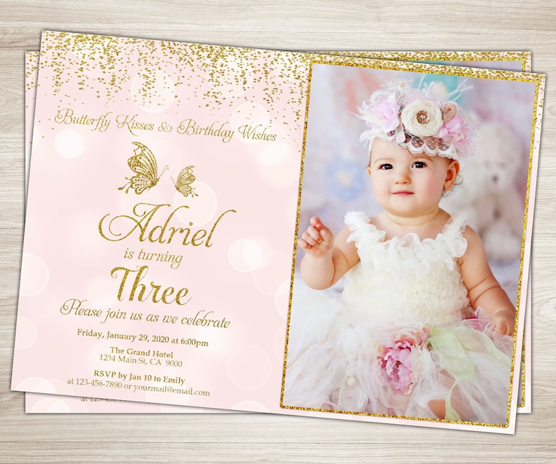 Butterfly Birthday Invitation Photo Pink