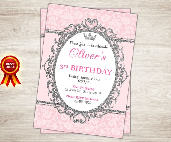royal princess birthday invitation pink silver princess etsy