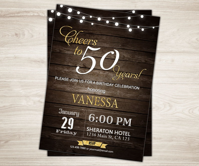 50th Birthday Invitation Man Male Cheers To 50 Years Rustic Wood Surprise Adult Party Invite