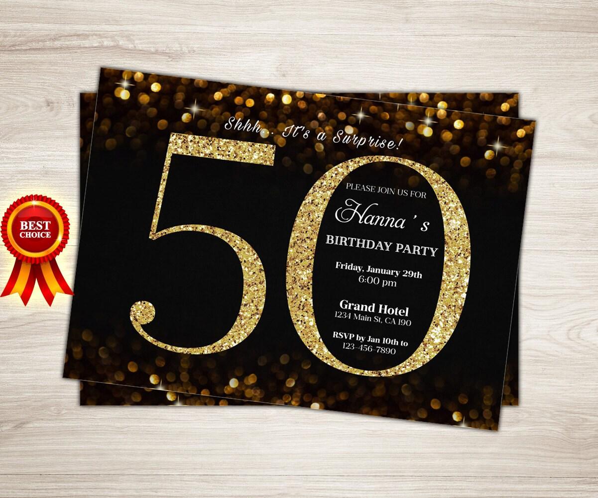 Surprise 50th Birthday Invitation. Gold Glitter 60th
