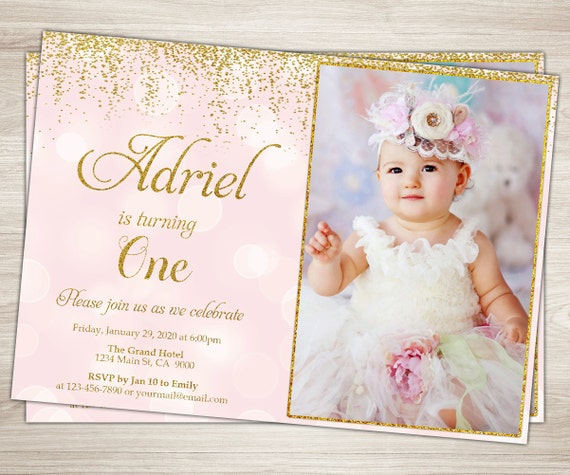Tutu birthday invitation girl 1st birthday pink and gold tutu filmwisefo