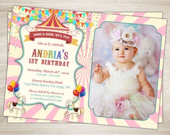 Carousel Birthday Invitation Pink Carousel Invitation Printable First Carnival Invite Pink White stripes Carousel 1st Birthday Party Invite