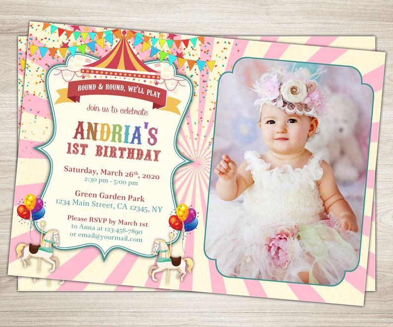 Carousel Birthday Invitation Pink