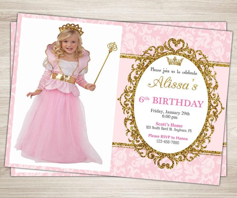 Princess Birthday Invitation 2nd Party Invite Pink