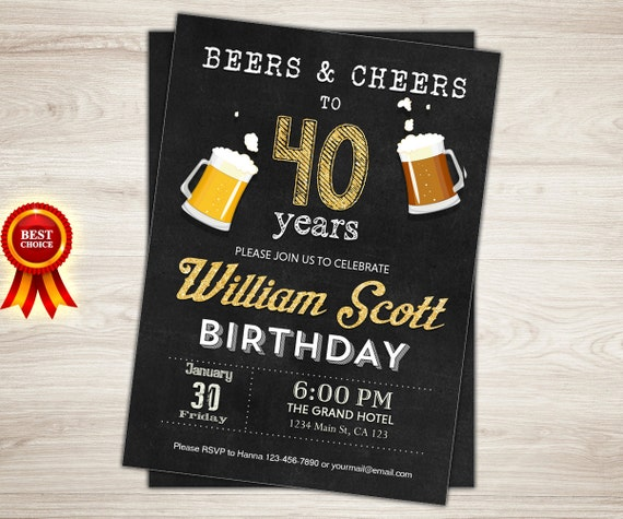 Surprise 40th Birthday Invitation Man Male Cheers Beers