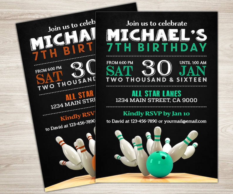 Adult Bowling Birthday Invitation Boy Girl Theme Party Invite