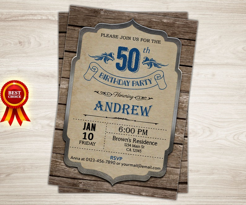 Surprise 50th Birthday Invitation Men Retro Adult