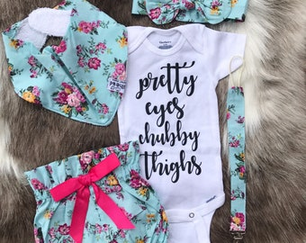 6ecb0a136783 Beautiful floral rounded roses   5pcs BabyGirl Coming Home Outfit