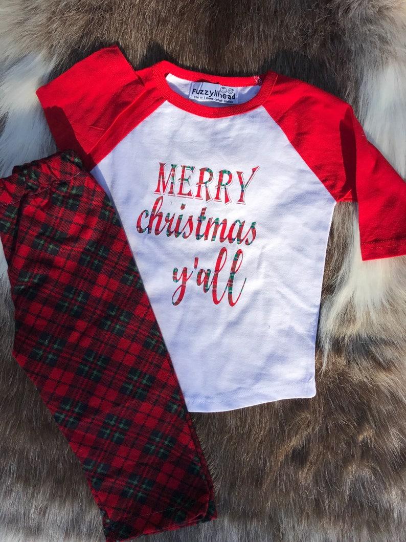 87f9c6a0ab05 Boys girls flannel Christmas pajama set  Christmas sibling