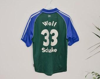 8bdbc8305df FC SHALKE 04 match shirt Adidas authentic soccer Veltins T-Shirt Sport  Bundesliga Vintage football Sascha Wolf 33 number S Small