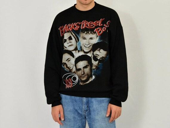 black sweatshirt hipster boysband slouchy 90s Backstreet unisex Boys Vintage oversized BSB SR6UUq