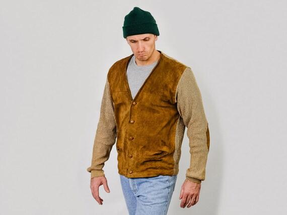 Leather sweater Caramel cardigan suede 90's sweate