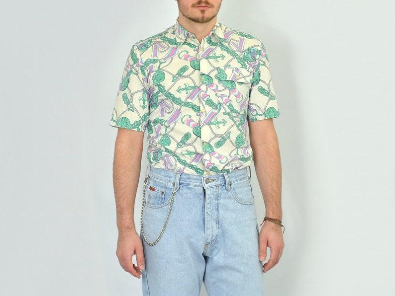 Printed SHIRT Vintage beach sun button up 1990/'s abstract hipster summer short sleeve mens SM